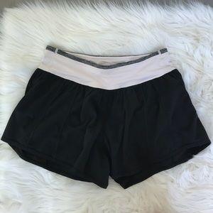 Rare Lululemon Baby Pink and Black Running Shorts